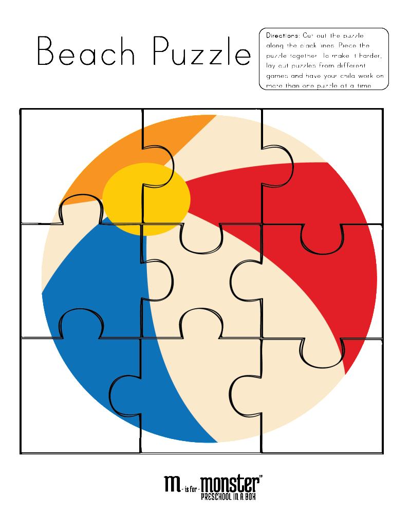 Uncategorized Preschool Puzzles Free beach ball puzzle free printable from www misformonster com com