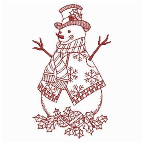 Redwork Winter Snowman Embroidery Design Neddle I For Neddlework