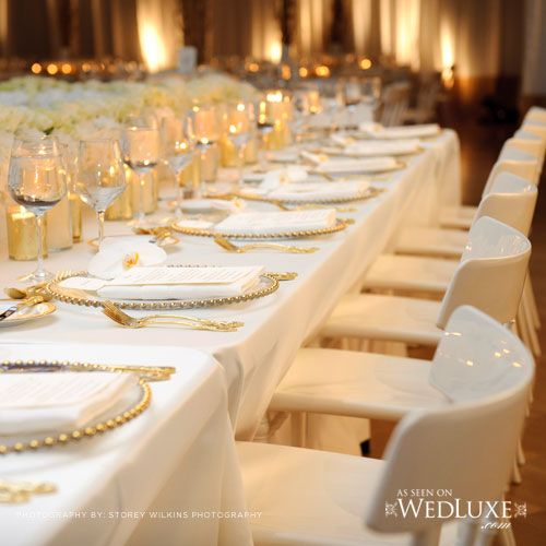Gold Wedding Table Decorations: Gold And Ivory Table Settings #goldwedding
