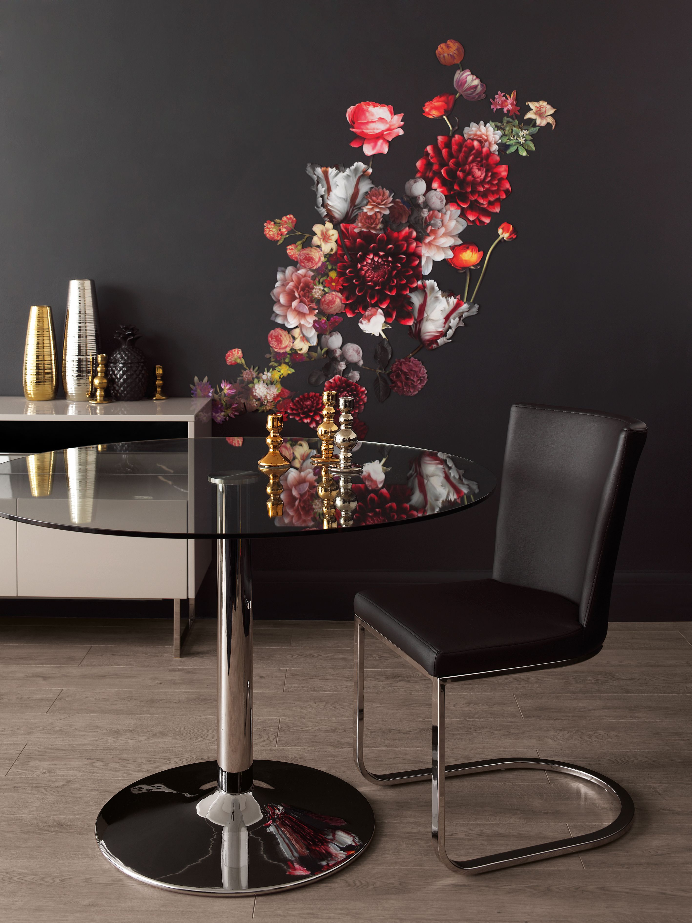 Floral Wall Art Reflecting In A Glass Dining Table Create