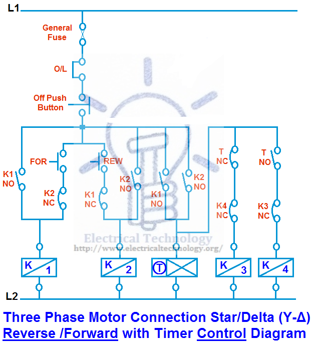 Three Phase Motor Connection Star Delta Y D Reverse Forward With Timer Power Control Diagra Electrical Circuit Diagram Circuit Diagram Electrical Diagram