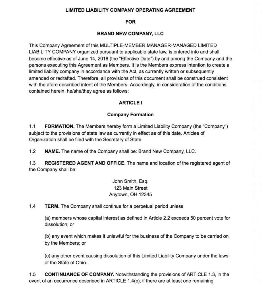 Operating Agreement Template For Corporation Gallery