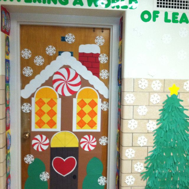 Door Decorations Christmas Contest: Gingerbread House For Classroom Door.