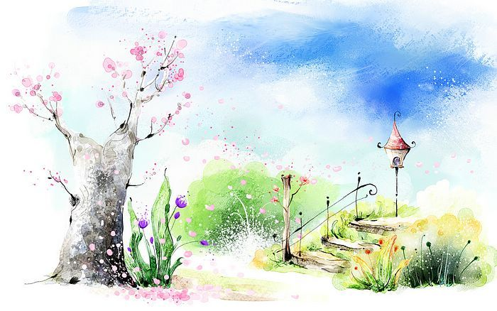 Paint a spring scene art drawing romantic scene of the seasons romantic spring garden scene illustration painting 4