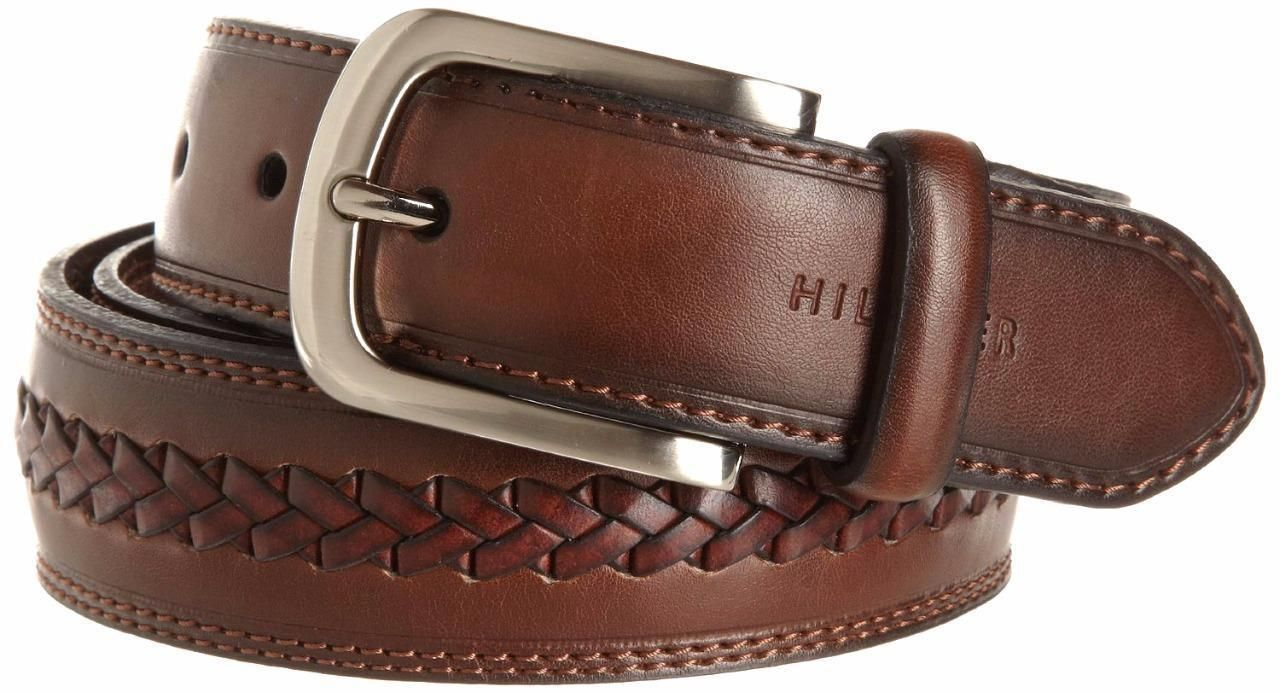 Tommy Hilfiger Men/'s Premium 35MM Braided Leather Belt Brown 11TL02X047