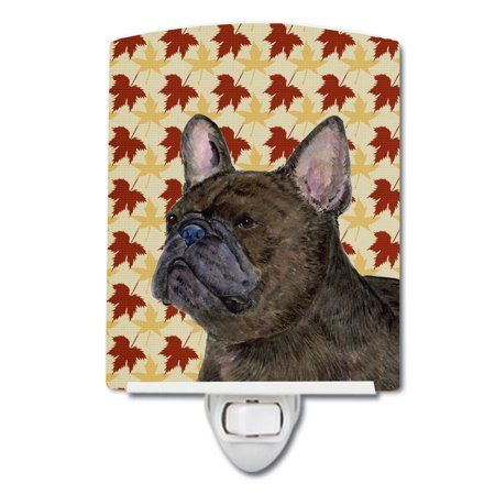 French Bulldog Fall Leaves Portrait Ceramic Night Light
