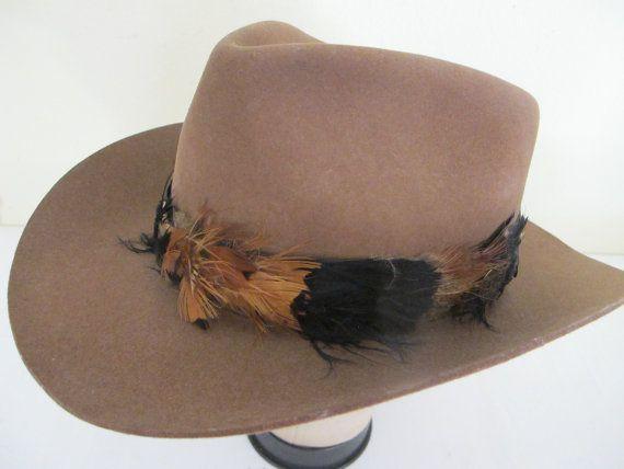 Vintage Cowboy Hat Outback Hat 1990's Hat Tiger of Sweden Hat Cowboy Hat Brown Dress Hat