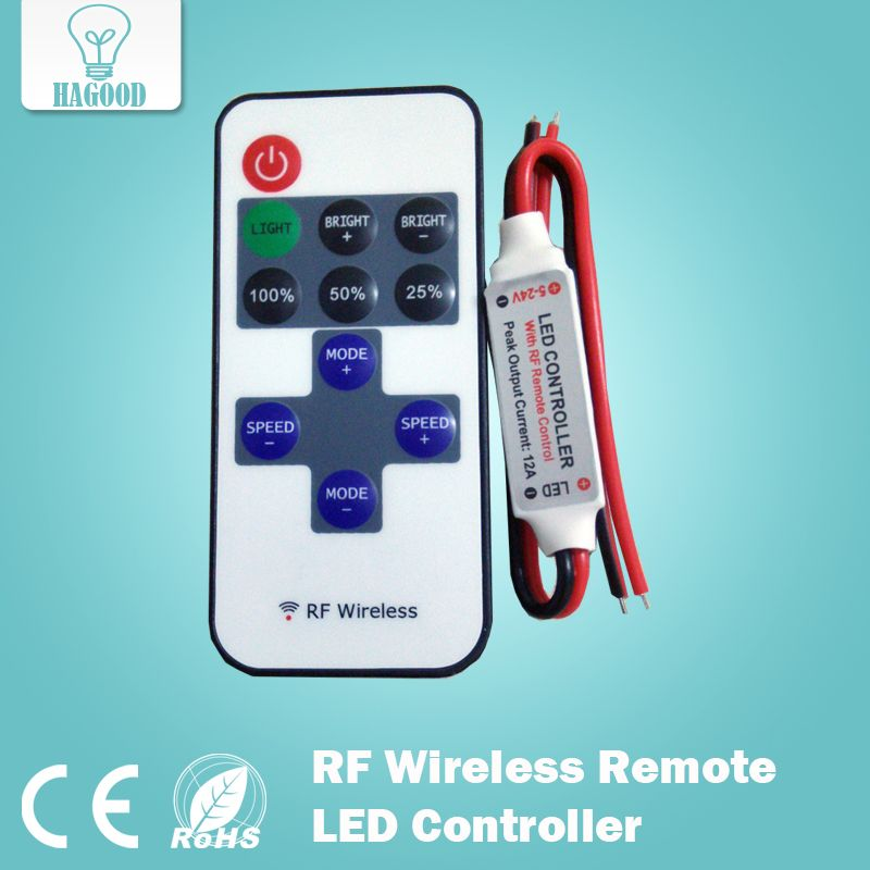 Rf Wireless Remote Led Controller 12a 5v 24v Led Rf Wireless Mini Remote Dimmer Controller For Led Strip With Free Shippin Led Controller Light Accessories Led