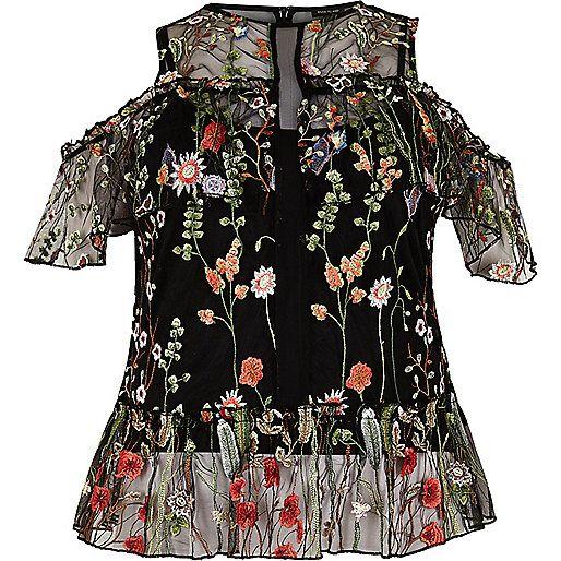 a097d98862c7b9 Plus black embroidered cold shoulder top - bardot   cold shoulder tops -  tops - women