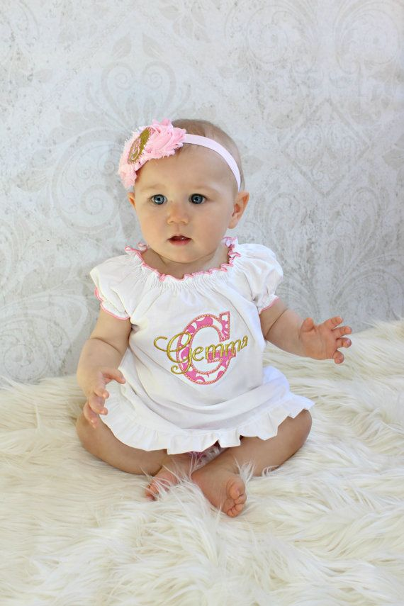 Baby Gift Monogram Baby Gril Dress Personalized Baby Girl Clothes ...
