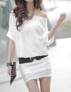 Sale!Fresh Summer Casual Wave Patterned Dress (White)$14.99