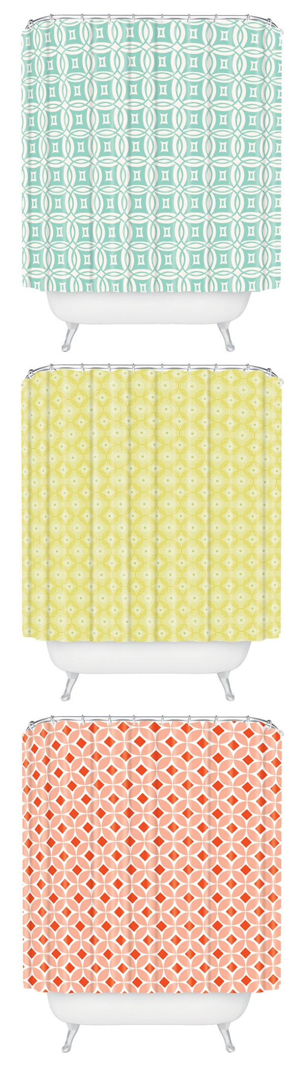 Coral and mint shower curtain - Such Cute Shower Curtains Love The Colors Pastel Yellow Mint And Coral