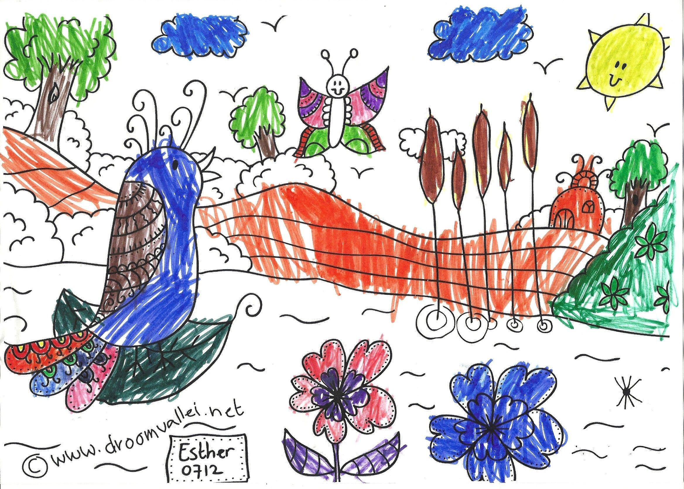De Droomvallei Vogel Vera Kleurwedstrijd Is In Volle Gang Wat Een Mooie Kleurplaten Komen Er Binnen Deze Is Van Een Zesjarig Meisje Nynke Kleurplaten Vogels