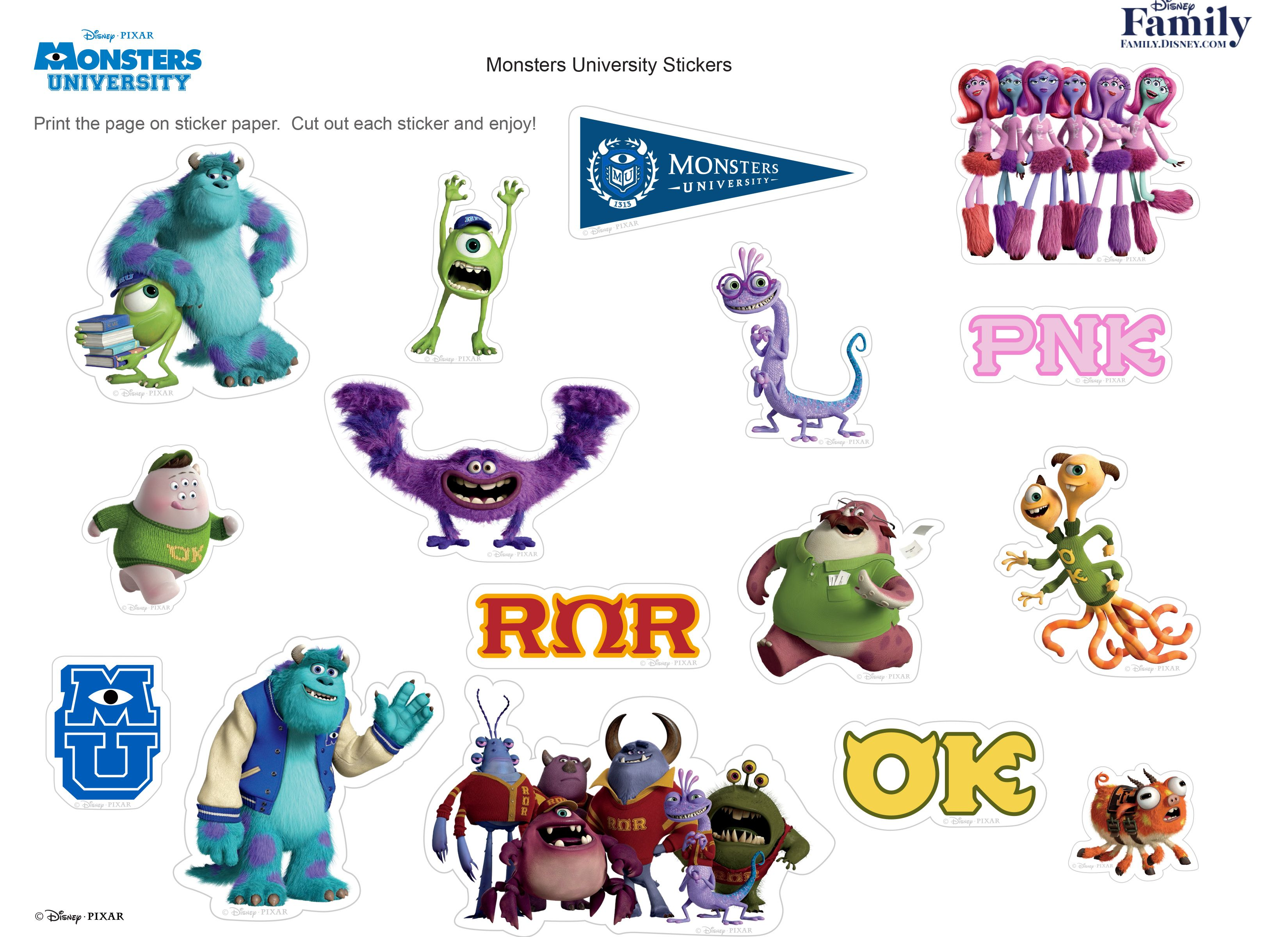Monsters University Stickers Monsters