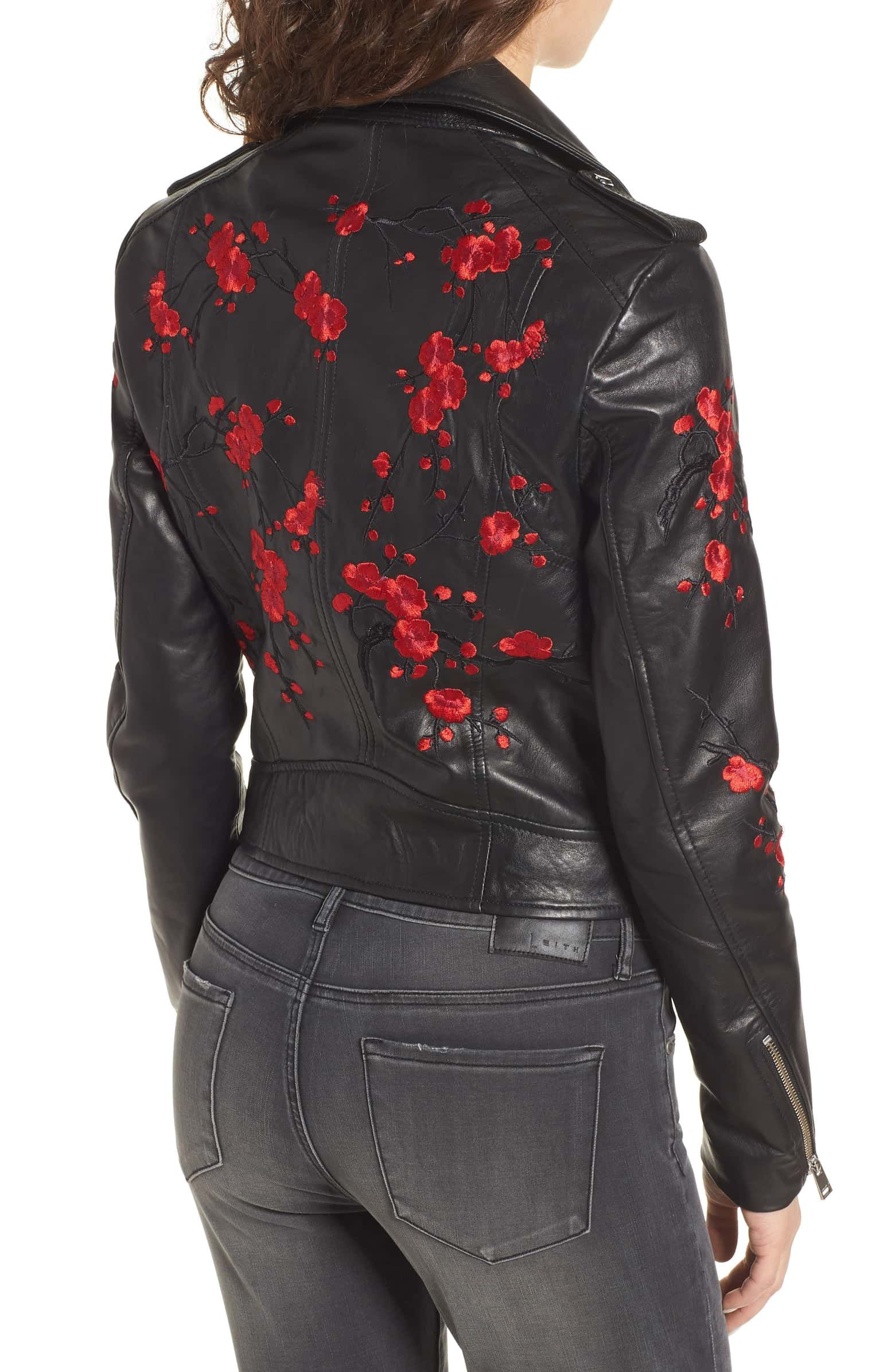 LAMARQUE Embroidered Leather Moto Jacket Floral leather