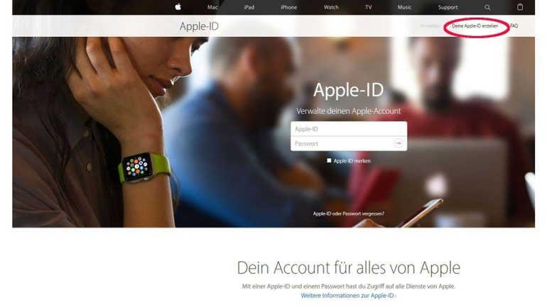 Wenn für das iPad noch keine Apple-ID besteht, kann sie auf der Apple-ID Webseite mit dem Link oben rechts erstellt werden.