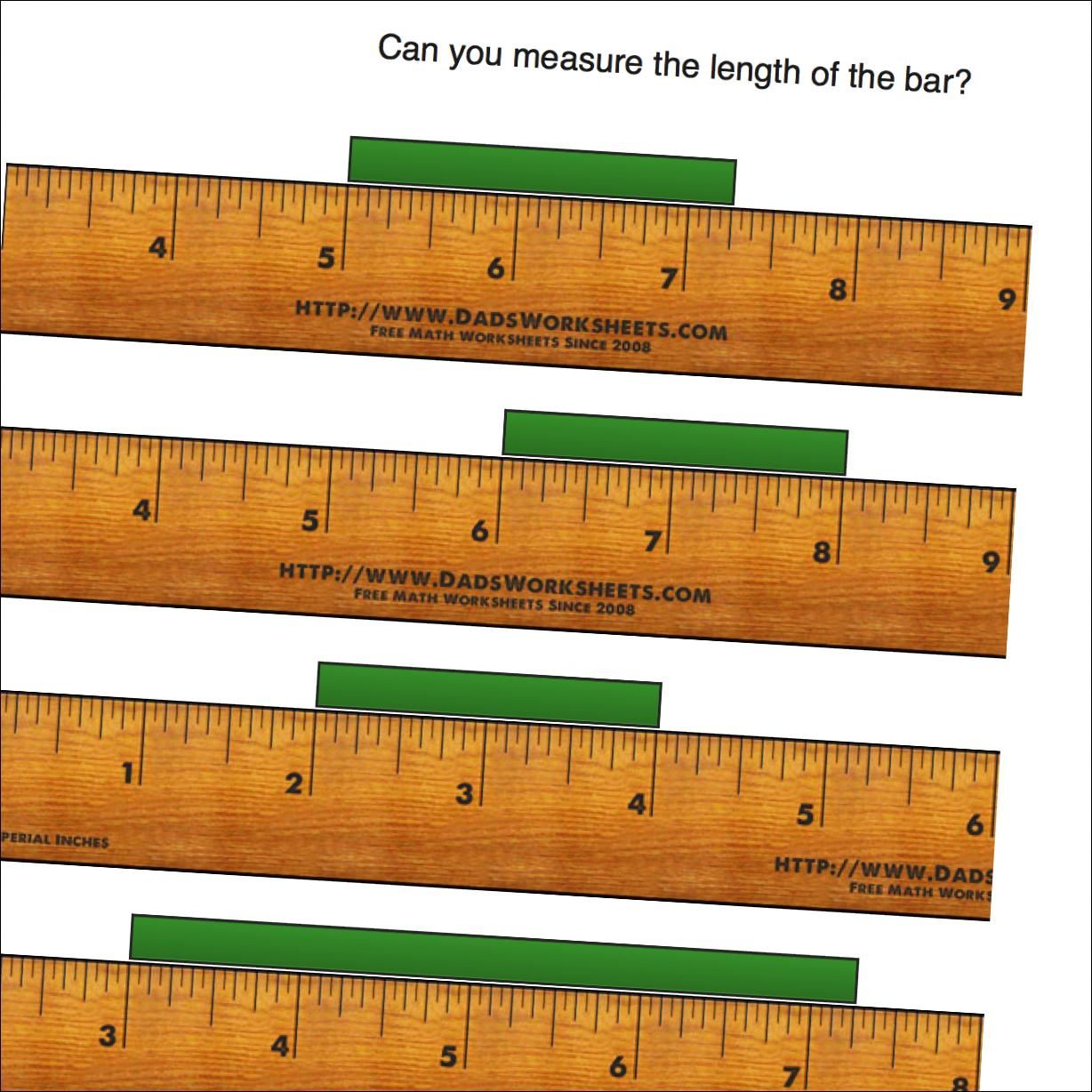 worksheet Measuring In Inches worksheets for measuring length on an imperial inch ruler starting from whole positions of the