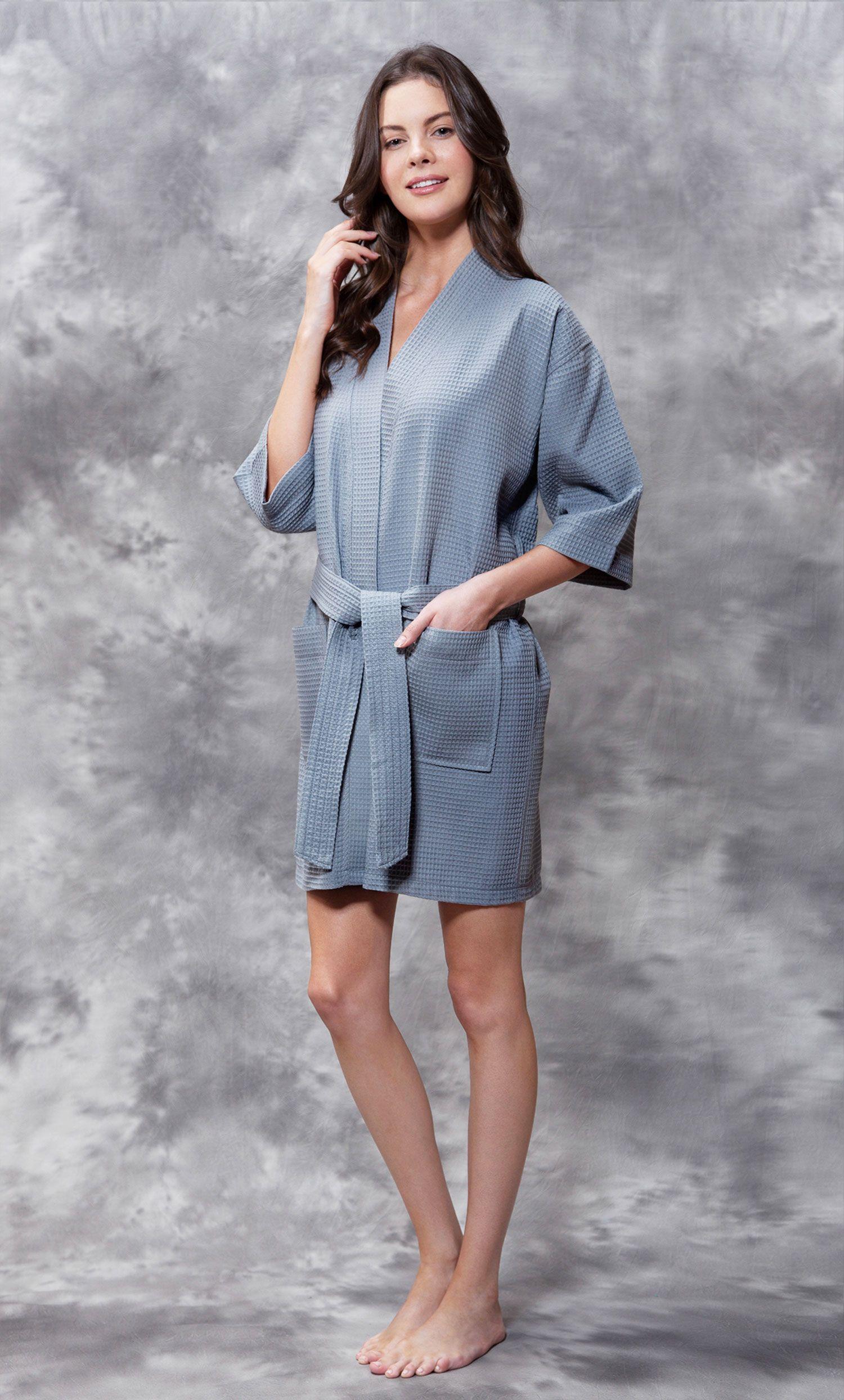 Economy Bathrobes :: Thigh Length Waffle :: Waffle Kimono Gray Short Robe Square Pattern - Wholesale bathrobes, Spa robes, Kids robes, Cotton robes, Spa Slippers, Wholesale Towels