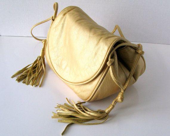 Vintage 1980s Viva Handbag, Viva Bags of California, Gold Leather Handbag