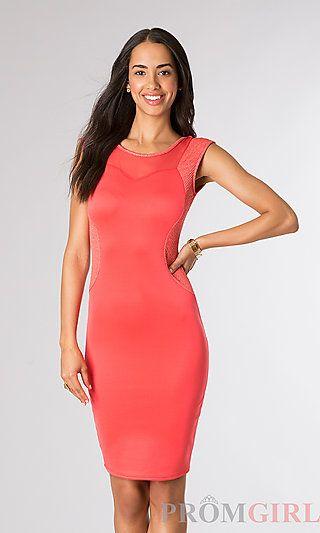 ebffb21fa366 Knee Length Sleeveless Semi Formal Dress at PromGirl.com