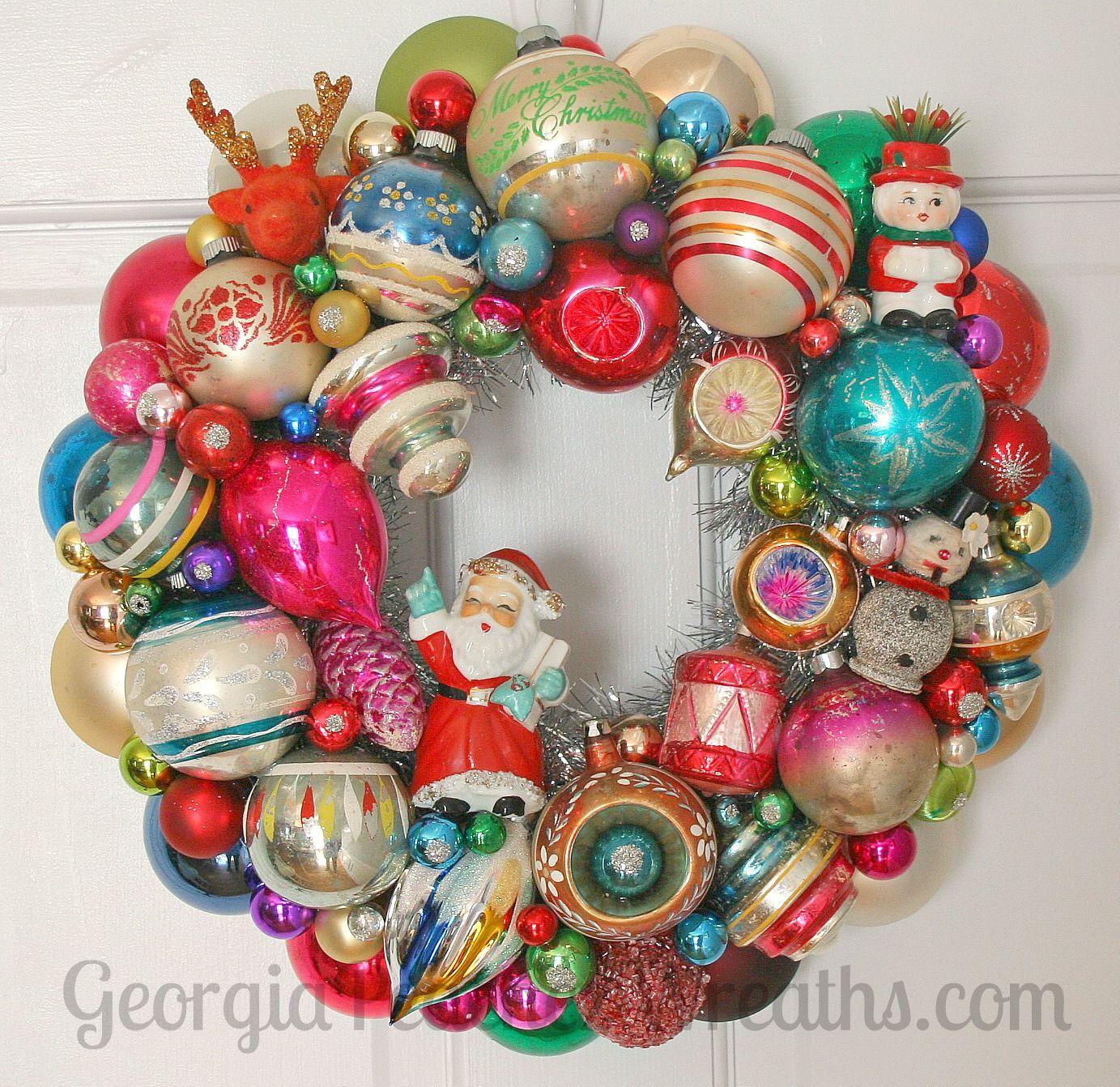 Georgiapeachez Wreaths Vintage Ornament Wreath Christmas Ornament Wreath Vintage Christmas Ornaments
