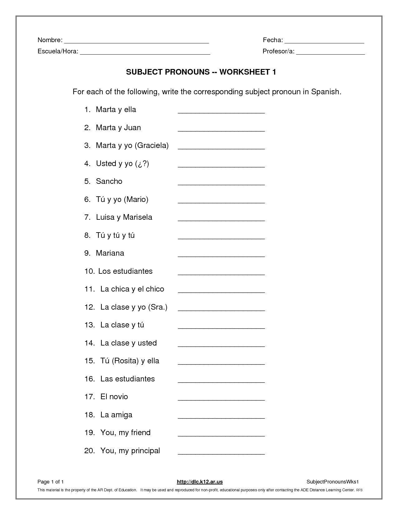Subject Pronouns Worksheet 1 Spanish Answer Key Dengan Gambar