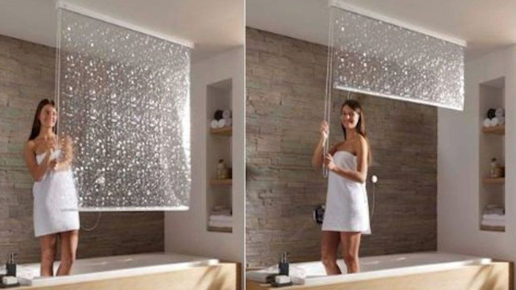 Retractable Shower Curtain Track Window In Shower Shower