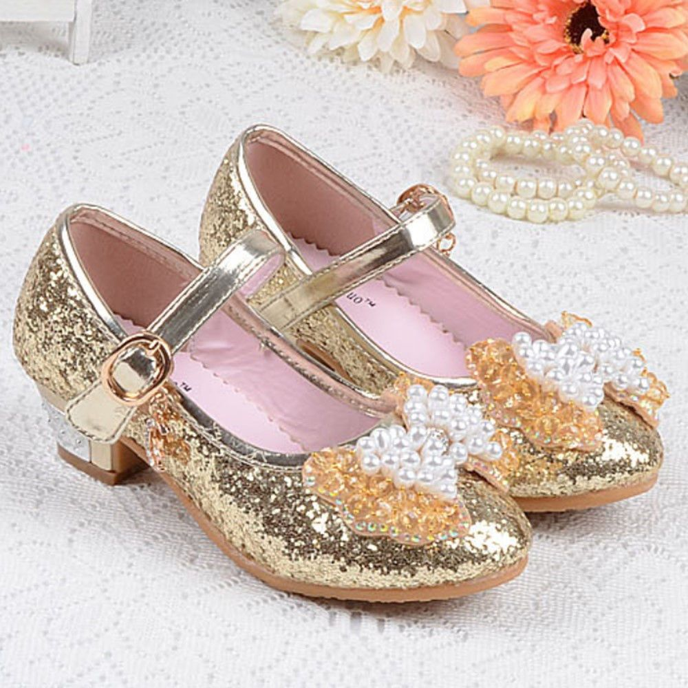 New Kids Infant Baby Girls Pearl Flower Diamante Wedding Bridal Flat Party Shoes