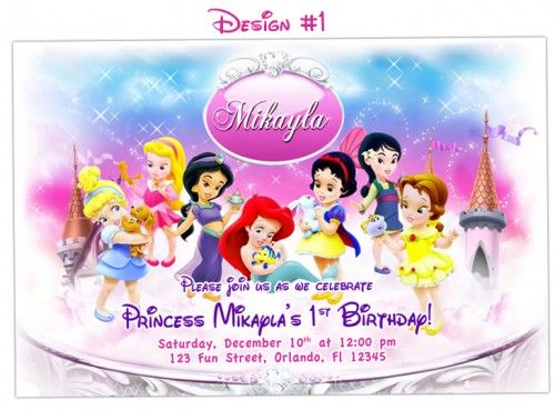 Disney Baby Princesses Birthday Party Photo Invitations