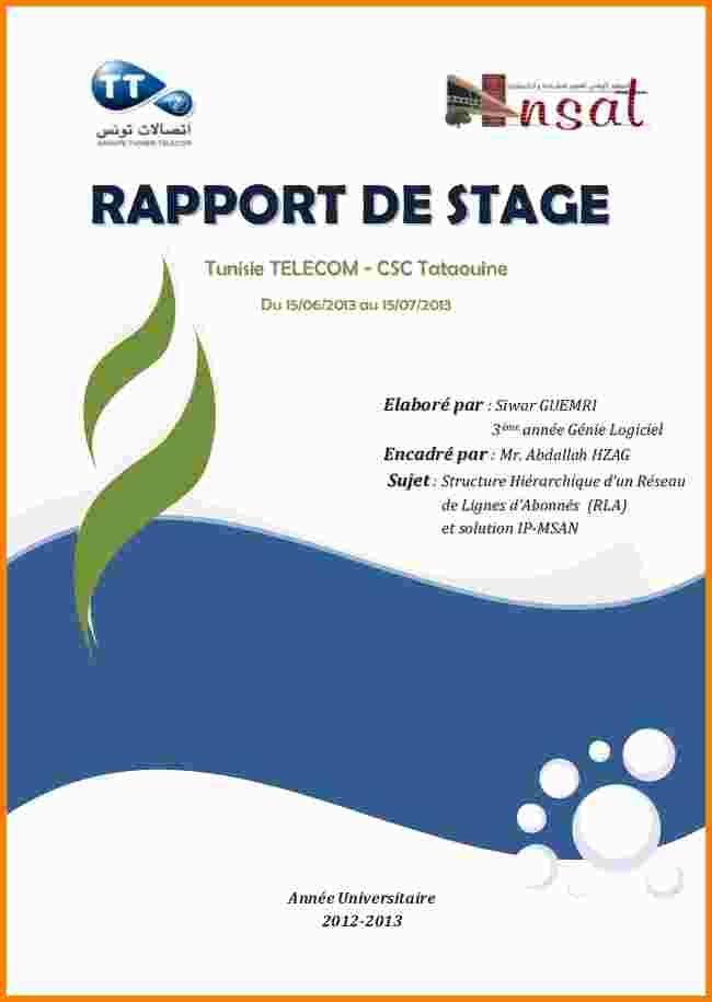 15 Page De Garde D Un Rapport De Stage Ala Ouzarf Hadjret
