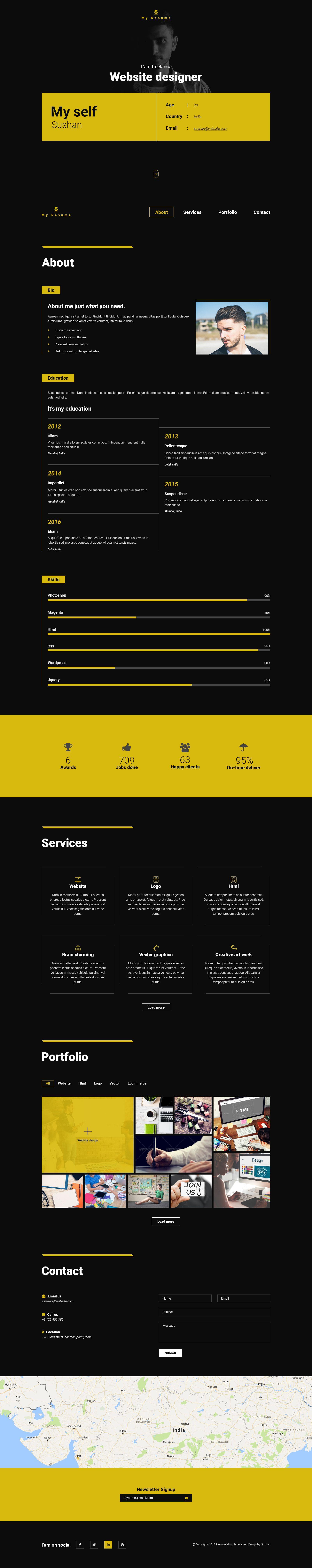 S Resume, Cv, Portfolio One Page PSD Template Psd