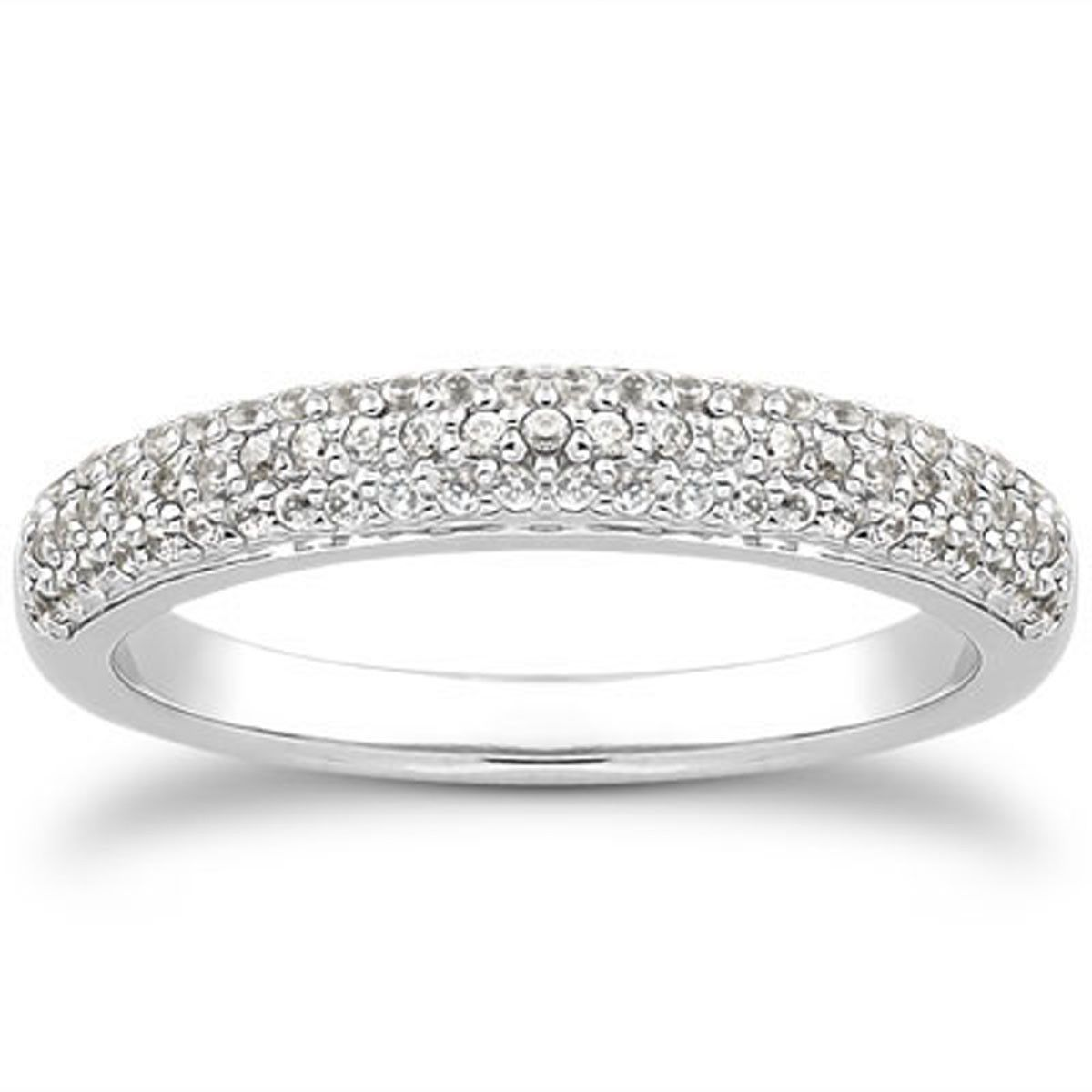 14K White Gold Triple Multi-Row Micro- Pave Diamond Wedding Ring ...