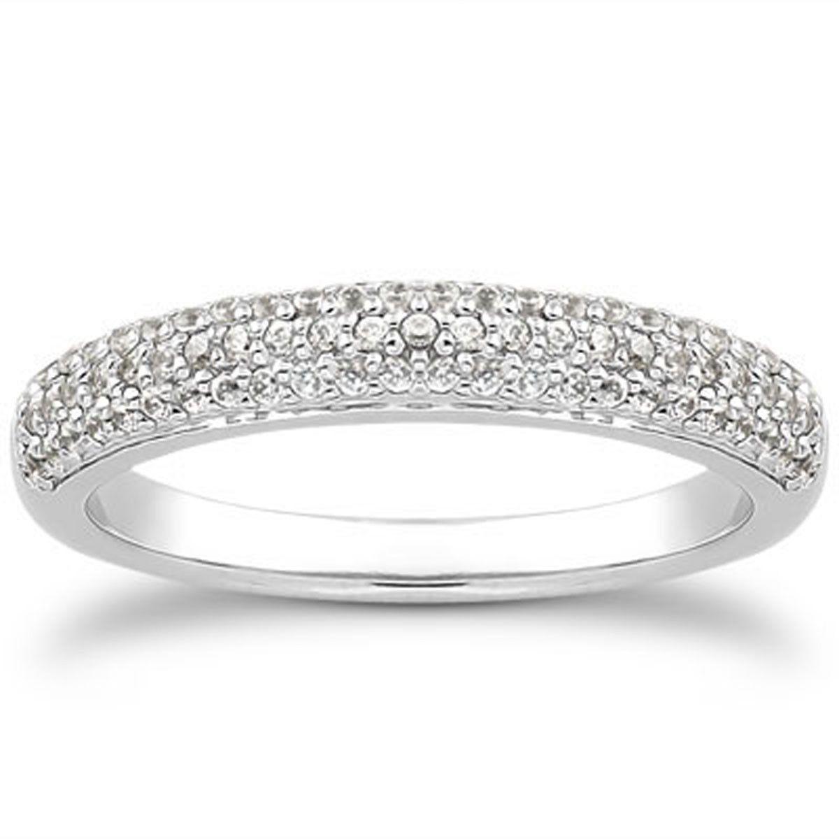 Miadora signature collection 14k white gold 1ct tdw diamond double row - 14k White Gold Triple Multi Row Micro Pave Diamond Wedding Ring Band