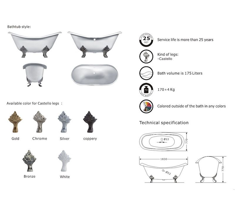 Cast Iron Double Slipper Clawfoot Bathtub Size 1830 770 770mm
