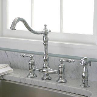 @Overstock   Charelstown Bridge Style 2 Handle Chrome Kitchen Faucet   Two