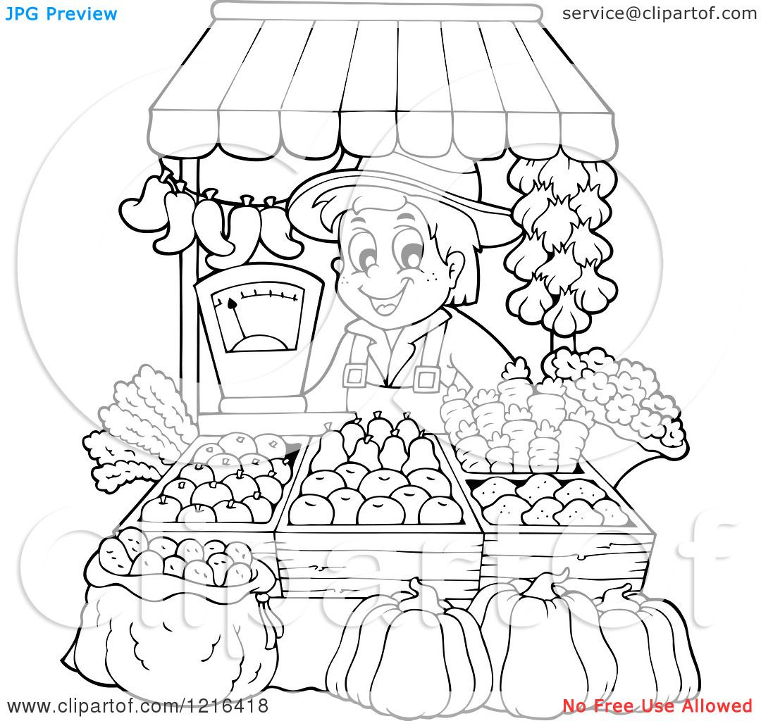 Vintage Farm Stand Clipart Vegetable Market Coloring Pages And