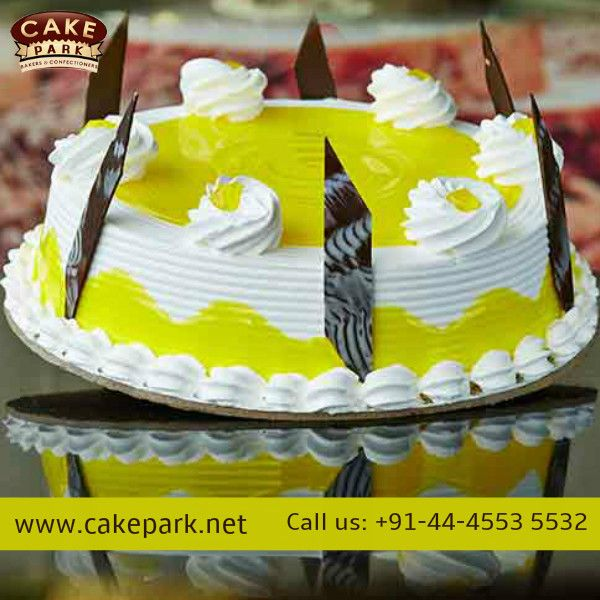 Juicy #pineapple fresh cream cake for the fruity lovers.  #Birthdaycakes #Photocakes #Themecakes   For more: http://www.cakepark.net/pineapple-delight-rfcpd.html Call us: +91-44-4553 5532