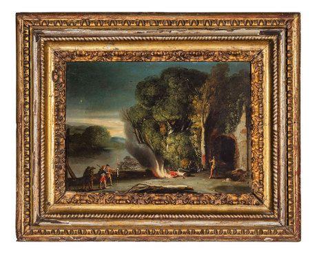 AGOSTINO TASSI(Ponzano Romano, 1580  Roma, 1644)Paesaggio con figure attorno a un fuocoOlio su rame, cm 23,5X33,5