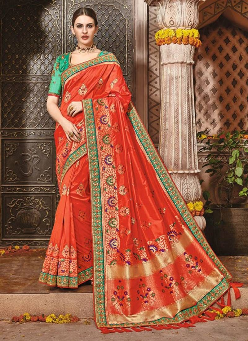 ffd827d37e Rust woven banarasi silk saree with blouse | Saree | Bridal lehenga ...