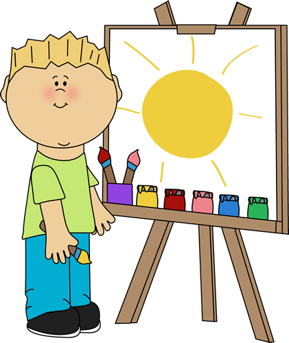 Art child. Boy painting on an