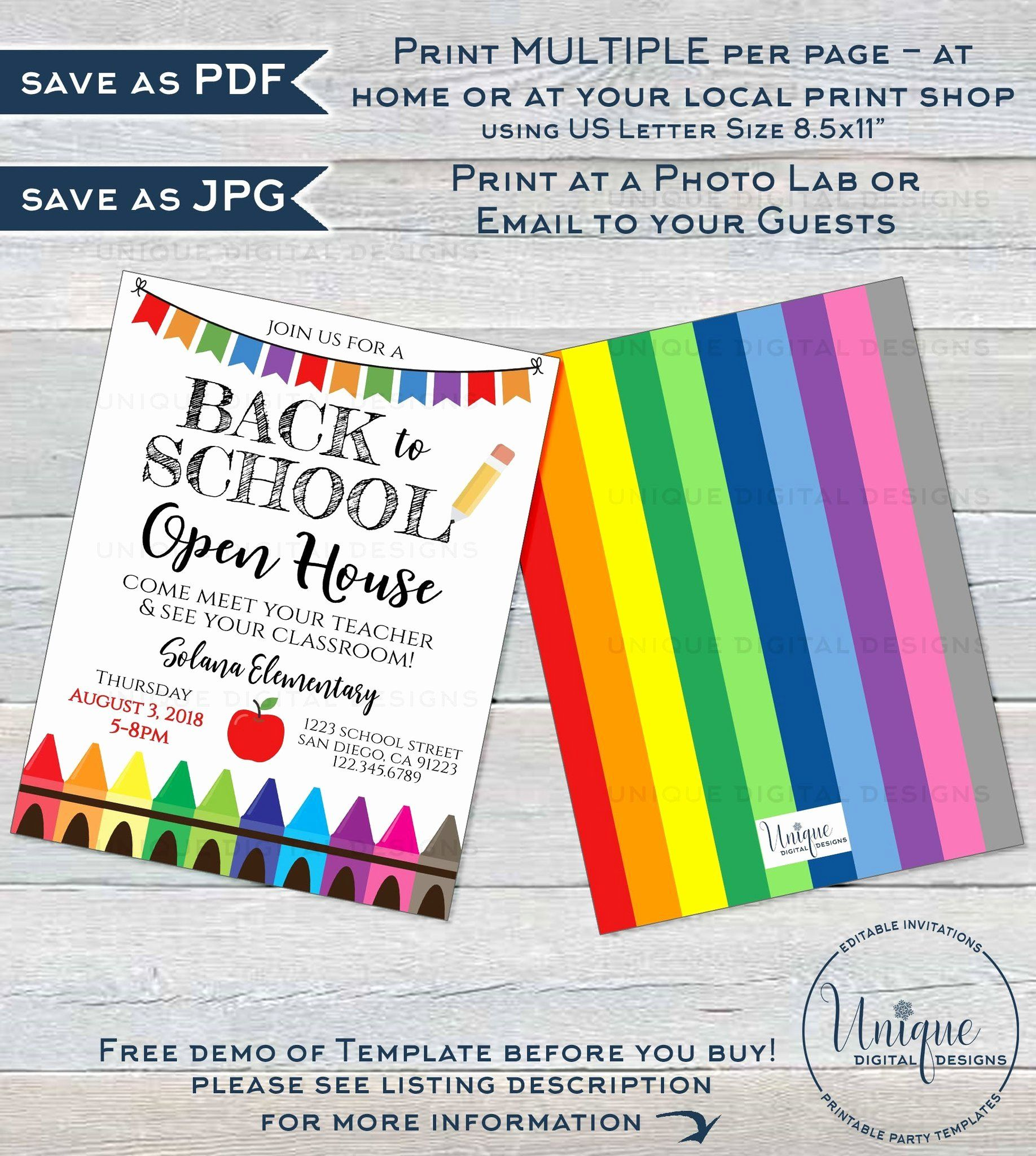School Open House Invitation Template Luxury Back To School Open House Invitation Meet Your Teacher Open House Invitation School Open House Invitation Template