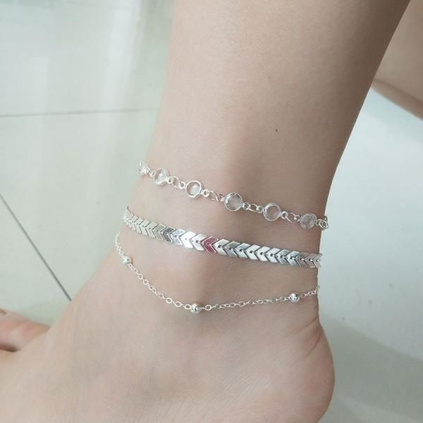 2909fd7c4c1 3Pcs lot Crystal Sequins Anklet Set For Women Beach Foot Jewelry Vintage  Statement Anklets Boho Style Party Summer Jewelry