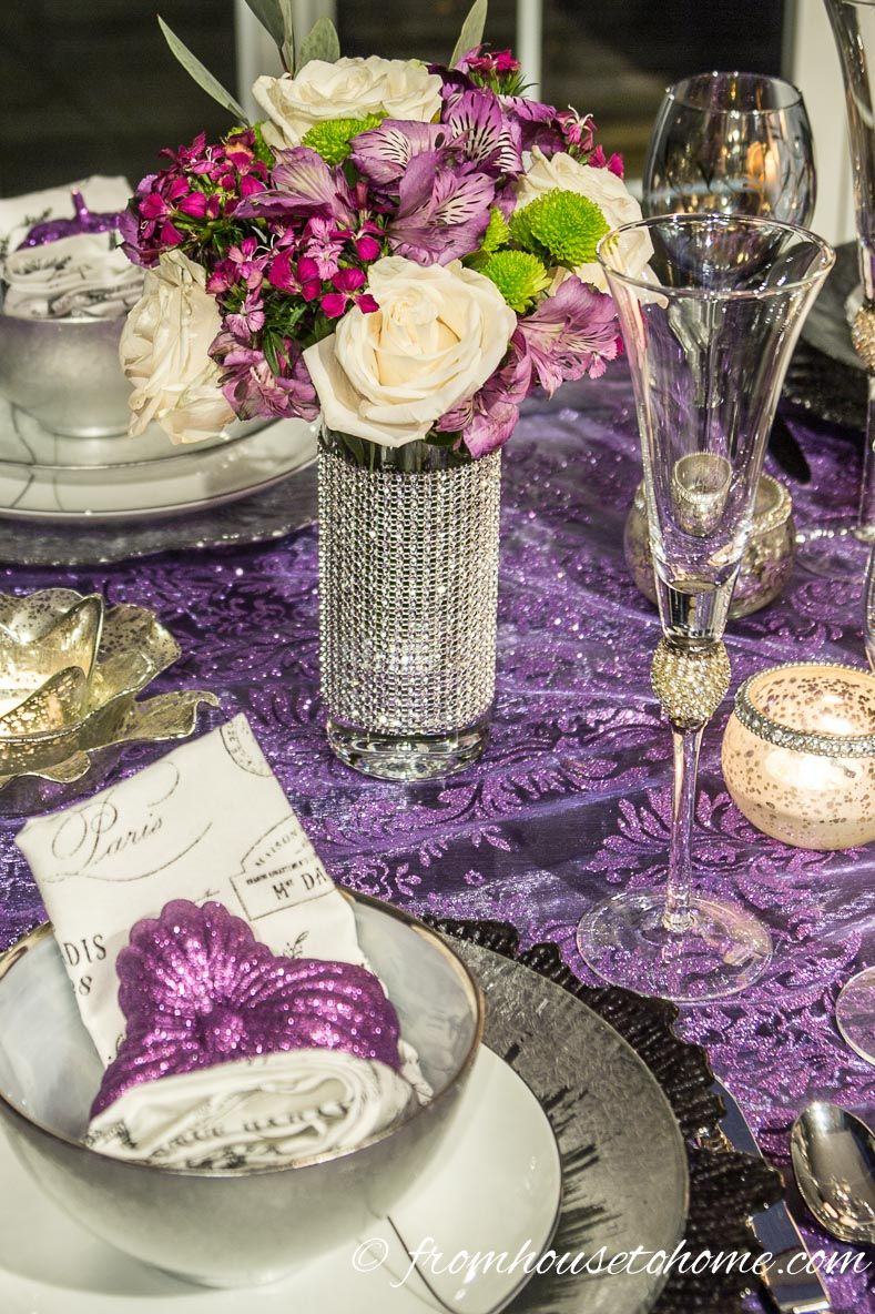 Elegant Purple And Silver Thanksgiving Tablescape Entertaining Diva From House To Home Thanksgiving Table Decorations Thanksgiving Table Settings Silver Table Settings