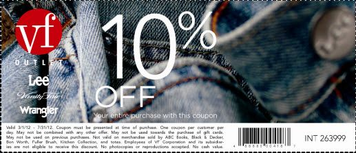 photograph relating to Vanity Fair Coupons Printable titled 10% off VF outlet VF Outlet Vainness affordable outlet