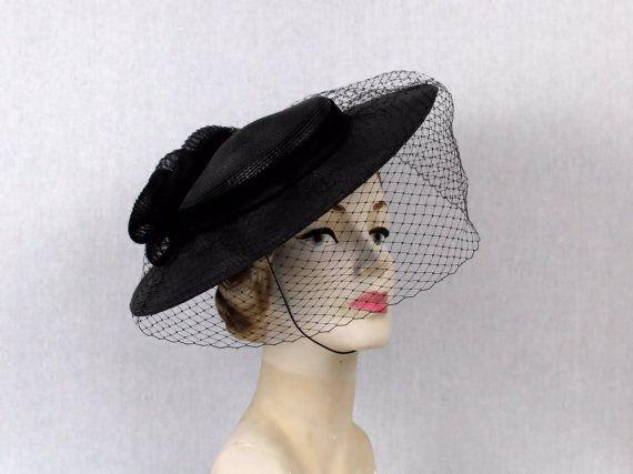 Black Veil Tilt Hat Wide Brim Black Hat Vintage 1960s Etsy Hats Vintage Black Veil Wide Brimmed
