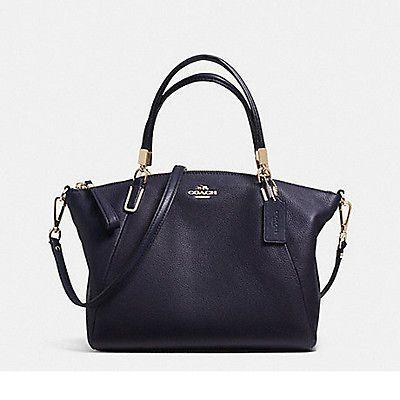 Coach Womens Pebble Leather Small Kelsey Satchel Bag Navy Blue Handbag  F34493-MN f1228532fa993
