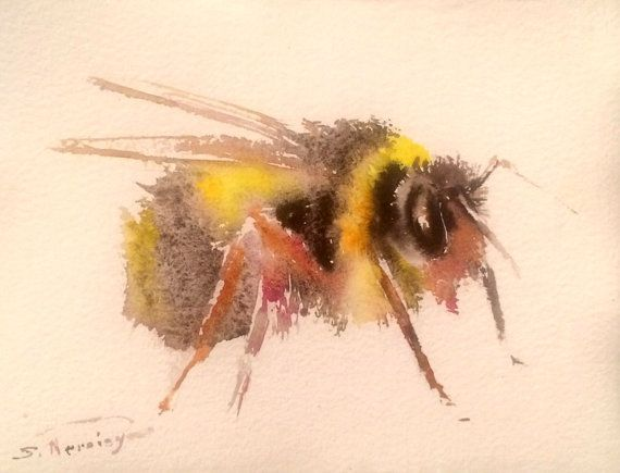 Bumblebee Original Watercolor Painting 95 X 75 In By ORIGINALONLY