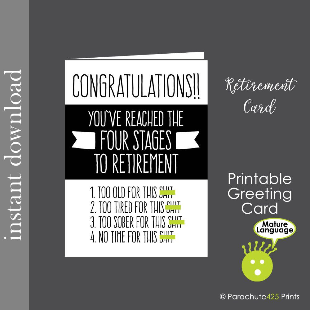 photograph relating to Retirement Card Printable referred to as Amusing Retirement Card Template