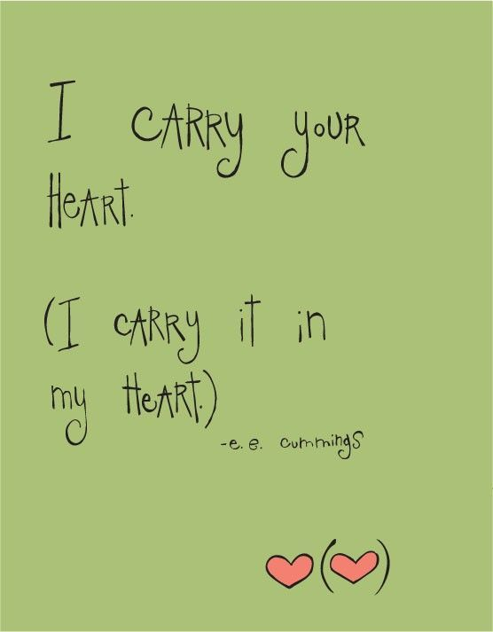 Simple Love Quotes I Carry Your Heart I Carry It In My Heart Poems & Wisdom .