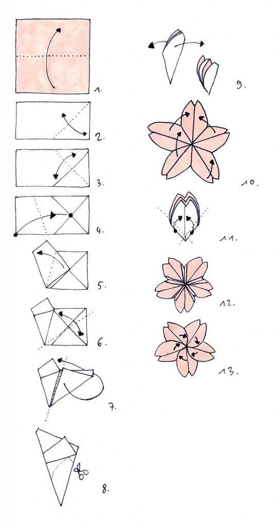 origami fleur de cerisier recherche google fleurs en. Black Bedroom Furniture Sets. Home Design Ideas
